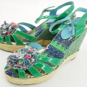 Desigual Colorful Green Wedge Sz 39 or US Sz 9